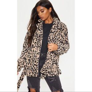 Jackets & Blazers - Faux Fur Leopard Print Moto Style Jacket